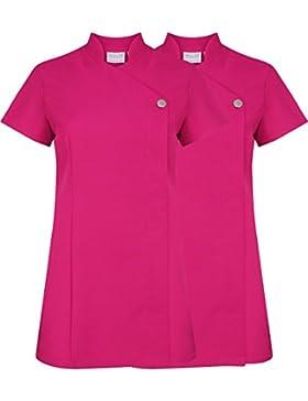 Bata con botón, uniforme para salón de belleza, 2 unidades