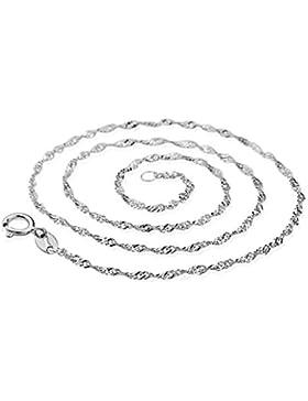 CargoMix® Zwei feste echte 925 Sterlingsilber Diamond Cut Kandare-Ketten-Wasser-Welle Halskette 45cm x 2