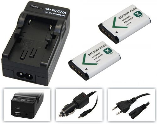 3in1-SET für die Sony Action-Cam HDR AS200 / AS200V / AS200VR / AS200VB und AS200VT --- 2x Akku (1000mAh) + 4in1 Ladegerät (u.a. mit USB / micro-USB und Kfz/Auto)