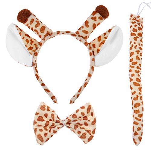 Plüsch Giraffe Kostüm - Amosfun Cartoon Giraffe Stirnband Fliege Schwanz Set Cosplay Kostüm Zubehör für Kinder Kinder Kostüm Party Requisiten 3 Teile / Satz
