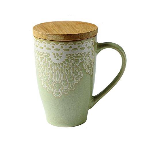 ufengke® Rural Peinture À La Main Gaufrage Céramique Mug Tasse À Lait Tasse À Thé Avec Bouchon 640ml, Vert