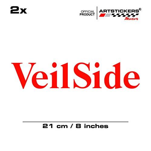2 x VEILSIDE 21cm Aufkleber, ROT ( IN 15 FARBEN) Decal Car Window Vinyl Sticker + BONUS 1 STK SPILARTS® (Veilside Aufkleber)