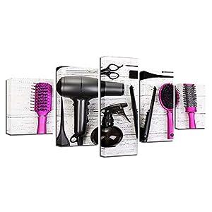 BESTYAN Haar Frisuren Tools 55x100cm 5 Panel Leinwandbilder Bild auf Leinwand Vlies Wandbild Kunstdruck Wanddeko Wand…
