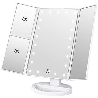 BESTOPE Schminkspiegel Beleuchtet Kosmetikspiegel mit 21 Leuchtmittel Make Up Spiegel 2X/3X Tischspiegel Vergrößerung für Arbeits/Tischplatte durch Akku oder USB-Aufladung