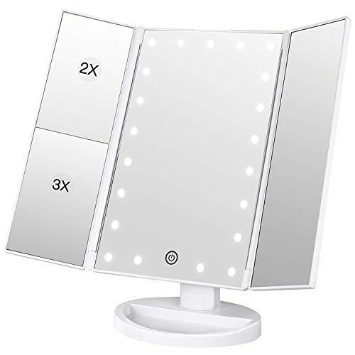 BESTOPE Kosmetikspiegel Beleuchtete Schminkspiegel mit 21 LED-Leuchtmittel Make Up Spiegel 2X/3X Vergrößerung für Arbeits/Tischplatte Bewegliche Kabellose Stromversorgung durch Akku oder USB-Aufladung