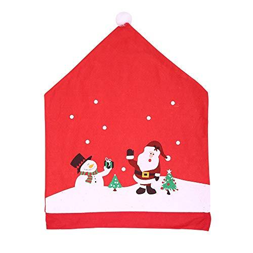 ZHRUI Weihnachtskomfort-weicher Stuhl bedeckt Schneemann-Weihnachtsmann-Muster-dekorative Neuheit (Farbe : Rot, Größe : Einheitsgröße) - Neuheit Stuhl