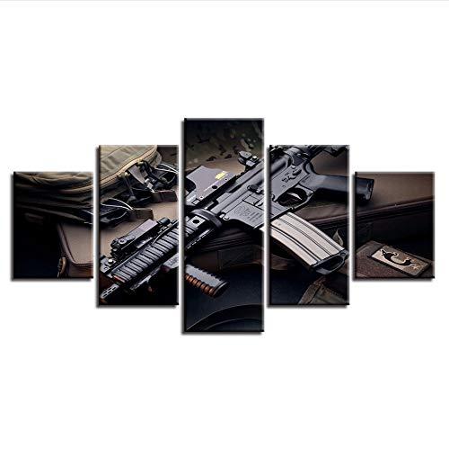 Fyyanm LeinwandWandkunstSpiel Bilder 5 Stücke Machine Gun Gemälde HomeDecor Hd DrucktMaschinenpistoleModular Framework -