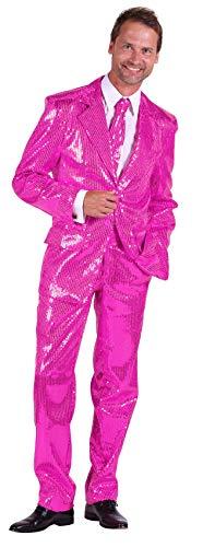 T2206-1100-58 pink Herren Pailletten Anzug Jackett Sakko Hose Disco Kostüm Gr.58