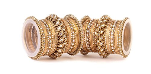 Kundan Bangle set for two hands with chakri kada