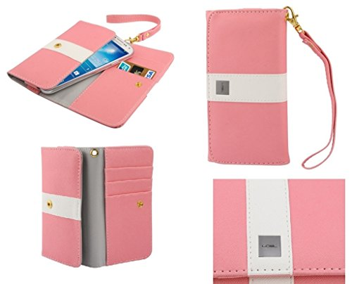 DFV mobile - Cover Premium with Color Line Design with Card Case for => Motorola Droid RAZR MAXX HD > Pink