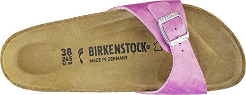 Birkenstock Damen Madrid Birko-Flor Pantoletten Shiny Check Rose