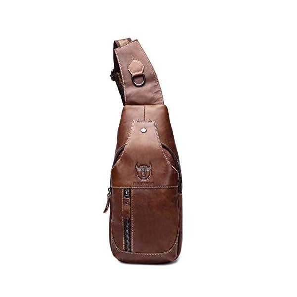 893fee52e492 Men Genuine Leather Chest Bag,Charminer Crossbody Shoulder Bag Sling Bags  Backpack Messenger Bag Daypack for Business Casual Sport Hiking Travel