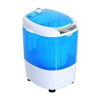 HOMCOM Mini Machine à Laver 170W Fonctions Lavage Essorage avec Minuterie Bleu et Blanc