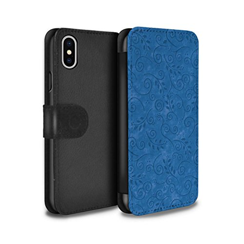 Stuff4 Coque/Etui/Housse Cuir PU Case/Cover pour Apple iPhone X/10 / Turquoise Design / Motif Feuille Remous Collection Bleu