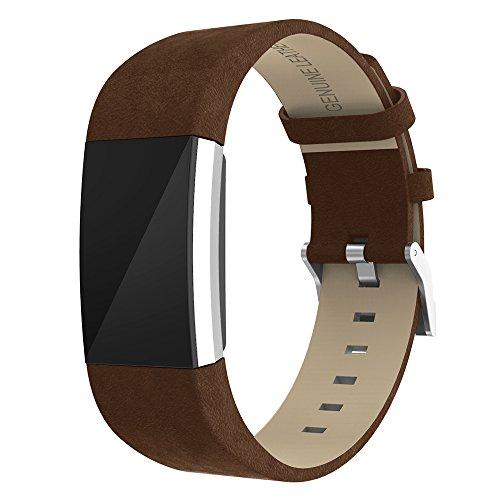 """Zeehar Ersatz-Armband für Fitbit Charge 2 aus Echtem Leder für Fitbit Charge 2 Fitness-Armband, Coffee, 5.5""""-8.1"""""""