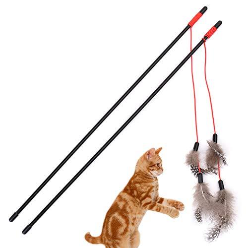 Oyfel 3PCS Funny Katzen Spielzeug für Innen Katze Glocken Soft Feder Kitty Pet Teaser Pod Zauberstab, Spielen Spielen Endless Fun über Länge -