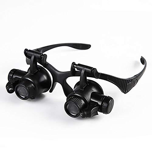 Led Licht Stirnband Lupe, Lupenbrille Kopfband Lupen Brille Verstellbare Mit 4 Linsen 10X,15X,20X,25X Für Das Lesen, Schmuck Lupe, Uhr, Elektronische Reparatur