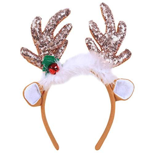 BESTOYARD Rentier Geweih Stirnband Pailletten Schneeflocke Weihnachten Kostüm Zubehör Ohren Design Deko Haarreifen Kopfschmuck Party Favors (Kaffee)