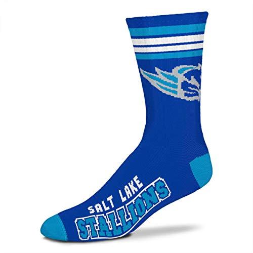 For Bare Feet Herren Socken Alliance of American Football AAF 4 Stripe Deuce Crew, Salt Lake City Stallions, Large (10-13)