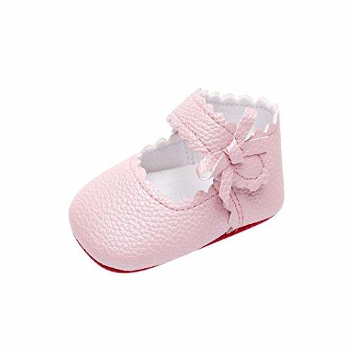 Lederschuhe Sneaker,Babyschuhe Bowknot Flach Kinderschuhe Klettverschluss Schuhe Weiche Shoes Mädchen Freizeitschuhe Wanderschuhe Rutschfest Laufschuhe (11, Rosa) (Kind Elf Schuhe)