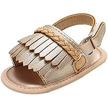 b218c8cf8ac Miyanuby Sandalias Bebe Niña Verano Borla Decorado Antideslizante Primeros  Zapatos para Niñas 0-6 Meses