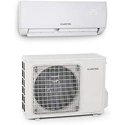 Klarstein Windwalker • Climatiseur Split • 600 m³/h • 12000 BTU • Mode Vent Naturel • Télécommande • Kit d'installation • Climatisation Rapide • Facile à Installer • Blanc