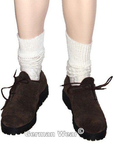 Kurze Trachtensocken lederhosen Trachtenstrümpfe Zopfmuster Socken Natur, Größe:44-46 - 2