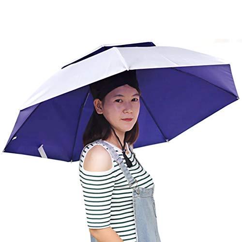 (MOMEY Mymy Doppelschichtiger Faltbarer Regenschirm Hut Kopfbedeckung Regenschutz Angelkappe)