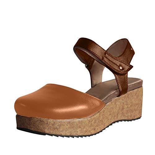 ODRD [EU35-EU49] Schuhe Shoes Mode Retro Damen Wohnungen Keile Runde Zehe Dicker Boden Rutschfeste römische Sandalen Sneaker Wanderstiefel Combat Hallenschuhe Worker Laufschuhe Sports (Ox-basketball-schuhe)