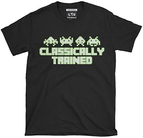 6TN Klassisch Ausgebildet Leuchten Im Dunklen Retro Video Gamer T-Shirt - Schwarz, L -