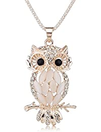 Phabdeals Owl Necklace Rhinestone Studded Heavy Quality Chain And Pendant