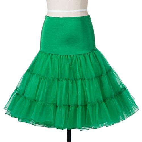 Lyshi 50er Petticoat Vintage Retro Reifrock Unterrock für Wedding bridal Rockabilly Kleider Grün