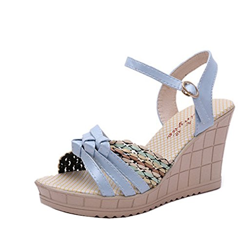 Gaorui Damen Schnallenschuhe Durchgängies Plateau Sandalen mit Keilabsatz Blau