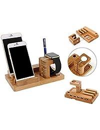 ROGUCI Multi-Hub Estación de carga de corriente USB, soporte para teléfono móvil, Muelle de madera Estación de carga puente Reloj integrado Soporte de montaje con el Iphone 4 puertos USB, dispositivo de sobremesa cable de carga Organizador para las tabletas de teléfonos inteligentes