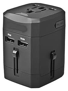 eBoot US UK EU AU Adaptateur Chargeur Universel de Voyage International (Max 1380W) avec 2 USB Ports 2.5A, Noir (Pas de Conversion de Tension)