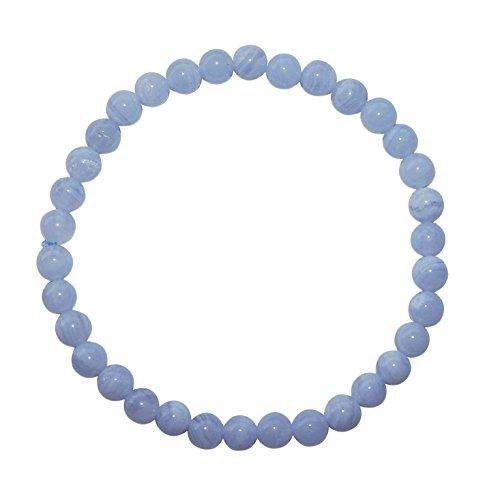 Chalcedon Armband Kugel Ø 6 mm schöne hellblau Farbe mit Maserung.(3870)