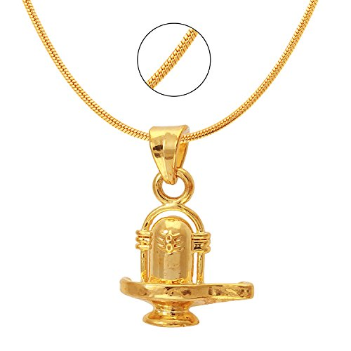 Mahi Exa Collection Shivalinga Gold Plated Religious God Pendant for Men & Women PS6012030G