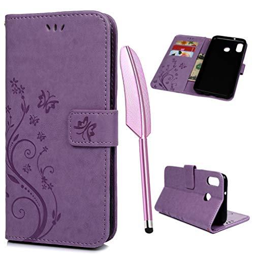 M20 Handytasche Kompatible für Samsung Galaxy M20 Hülle PU Leder Tasche Handyhülle Damen Schmetterling Muster Flip Case Cover Schutzhülle Skin Ständer Klappbar Schale Bumper Magnet Deckel-Lila