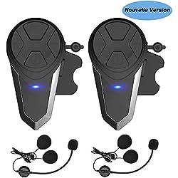 Oreillette Bluetooth pour Moto, Thokwok Kit Main Libre Moto 2 x BT-S3 Intercom Moto Bluetooth Casque pour Ski 1000m Interphone sans Fil