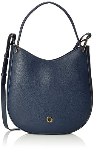 Tommy Hilfiger Damen Th Core Hobo Corp Umhängetasche, Weiß (Corporate), 30.5x33x7.6cm -