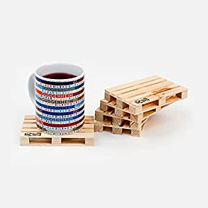 Palette-It Euro mini wooden Pallet Coasters (Pack of 5) Drink Coasters Set of 5
