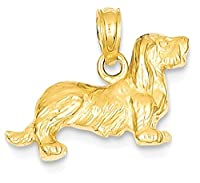 IceCarats 14k Yellow Gold Long Haired Dachshund Dog Necklace Pendant Charm