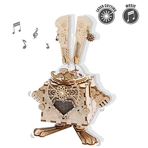ROKR Holz Modell Kits Hand-Handwerk Spieluhr 3D Holzpuzzle Weihnachten Geburtstag Geschenke Für Teen und Erwachsene (Bunny)