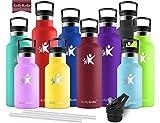 KollyKolla Vakuum-Isolierte Edelstahl Trinkflasche, 750ml BPA-frei Wasserflasche mit Filter, Thermosflasche für Kinder, Mädchen, Schule, Kindergarten, Sport, Wandern, Camping, Outdoor, Dunkelrot