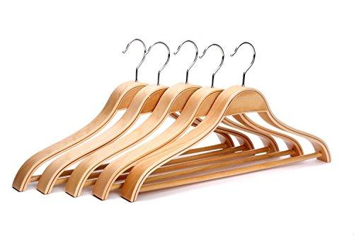 J.S in legno massiccio, finitura naturale, larghezza spalle tuta grucce appendiabiti, gruccia per grave cappotto, giacca pantaloni grucce appendiabiti, 5pezzi