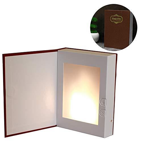 EFGS USB Wiederaufladbare Buch Geformt Licht Flackernden Feuer Atmosphäre Dekorative Lampen Für Dekor, Magisches Buch Design - Kreatives Geschenk Für Geburtstag, Liebhaber,Red