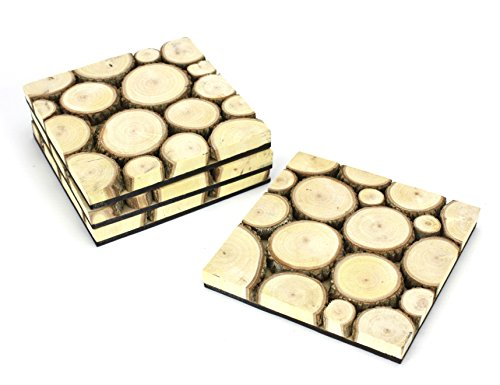 Set of 4 Tamarind Wood Drinks Mat / Coasters - natural version. by Farang (Thai Home-spa)