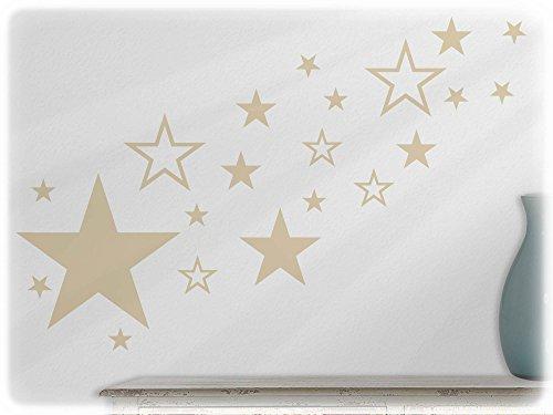 wandfabrik - Wandtattoo - 82 praktische Sterne in beige (Brown Glas Fliese)