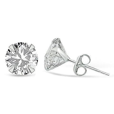 Karisma 1 Paar Damen Ohrstecker 925 Sterling Silber Zirkonia Stein Diamant Ohrringe Stecker Weiss-7mm