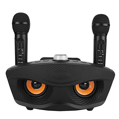 ASHATA Karaoke-Anlage Karaoke-Set, Karaoke-System Wireless Bluetooth Stereolautsprecher,Party-Soundsystem Home KTV Speaker Karaoke Player 2 Dynamisches Mikrofon Kit,Unterstützt TF-Karte/USB(Schwarz)